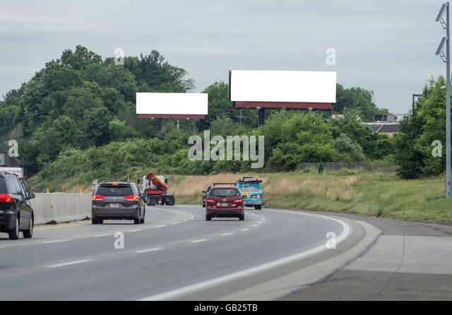 Interstate Highway Blank Billboards, Pennsylvania USA - Stock Image