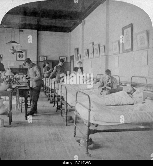 Ward in General Hospital No 10, formerly Grey's College, Bloemfontein, South Africa, 1901. - Stock Image