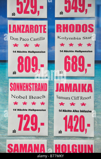 Last-minute advertising in a travel agents at Munich Airport, Munich, Bavaria, Germany, Europe - Stock-Bilder