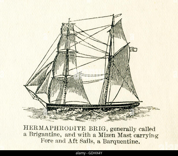 The vessel pictured in this 19th-century drawing is a hermaphrodite brig. - Stock Image