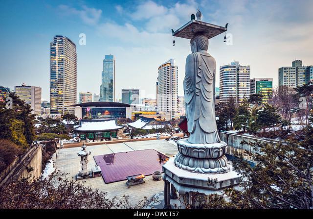 Seoul, South Korea cityscape in Gangnam District. - Stock-Bilder