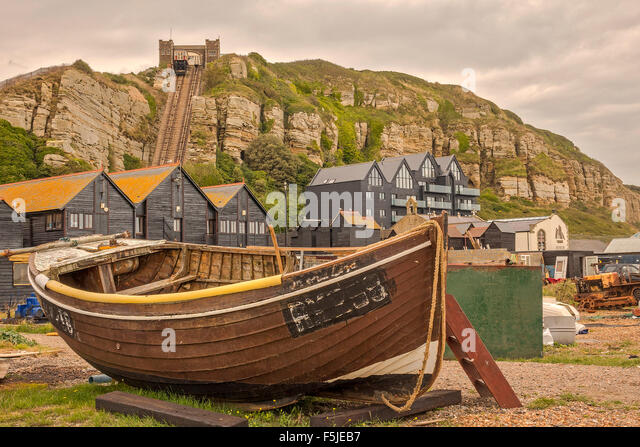 Boat On The Foreshore Hastings East Sussex UK - Stock Image
