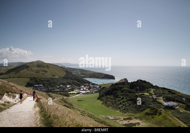 pathway from Lulworth Cove to Durdle Door, Dorset UK - Stock-Bilder