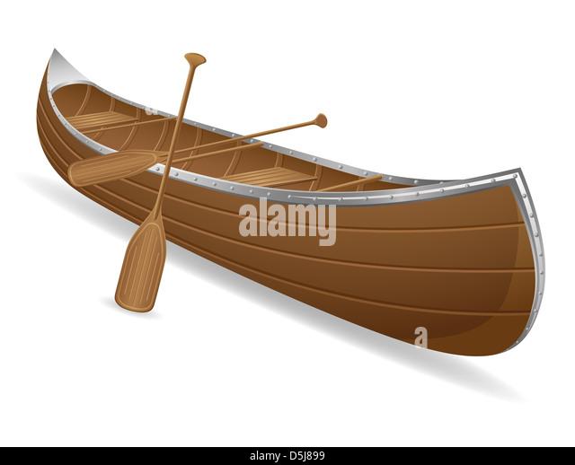 canoe illustration isolated on white background - Stock Image
