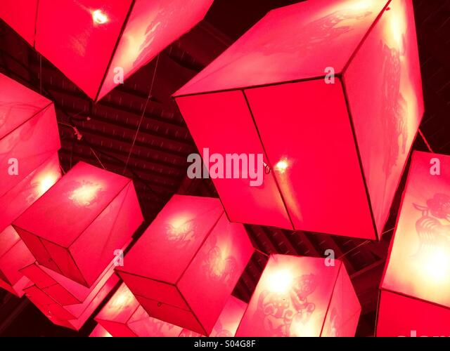 Red decorative cubes. - Stock Image