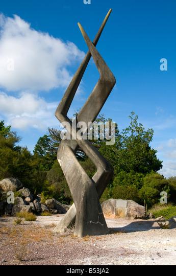 Sculpture in Kuirau Park, Rotorua, North Island, New Zealand - Stock Image