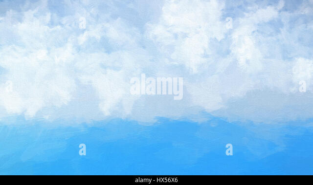 Watercolour abstract of a blue ocean and fluffy white clouds in sky - Stock Image