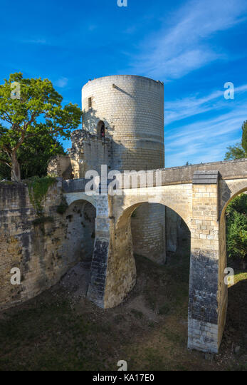 The Coudray Tower and bridge, Chateau Chinon, France. - Stock Image