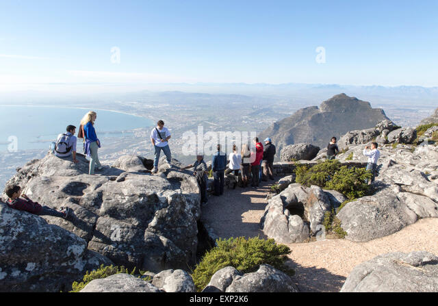 The top of Table Mountain , Cape Town - Stock Image