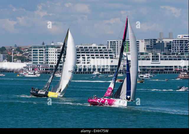 Auckland, New Zealand. 14th Mar, 2015. The all female Team SCA leads Team Brunei in the Auckland In-port race, part - Stock Image