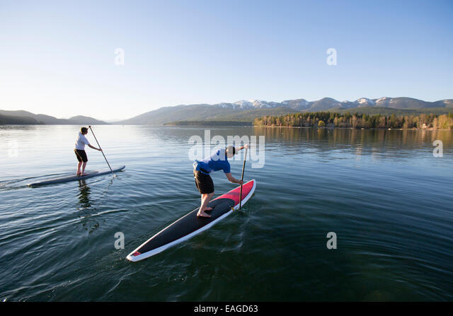 A fit male and female stand up paddle board (SUP) at sunset on Whitefish Lake in Whitefish, Montana. - Stock Image