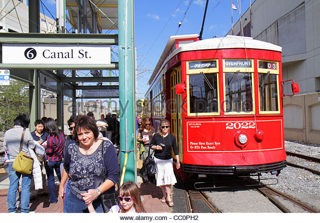 New Orleans Louisiana Regional Transit Authority RTA public transportation Riverfront Streetcar Line Canal Street - Stock Image