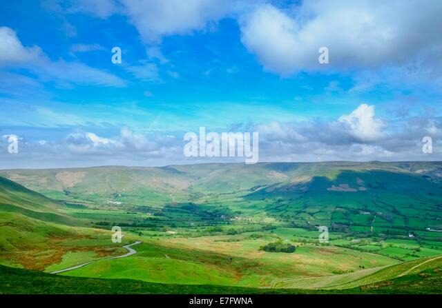 View of the Edale valley looking from Mam Tor, Peak District National Park, Derbyshire, England, May - Stock Image