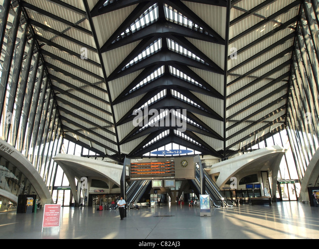 Gare TGV Satolas, Satolas train station with passage to the airport St. Excupery, Lyon, France - Stock Image