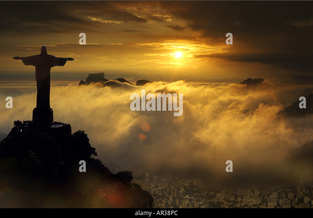 Aerial view of Corcovado statue at sunset, Rio de Janeiro, Brazil, South America, America - Stock Image