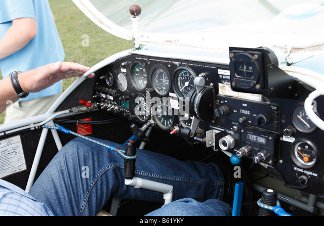 Cockpit of a motorised glider at Oberleichtersbach Airfield, Rhoen, Lower Franconia, Bavaria, Germany, Europe - Stock Image