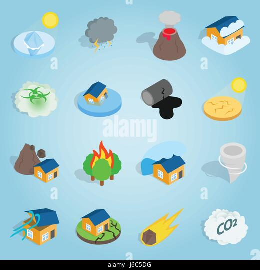 Natural disaster catastrophe isometric set - Stock Image