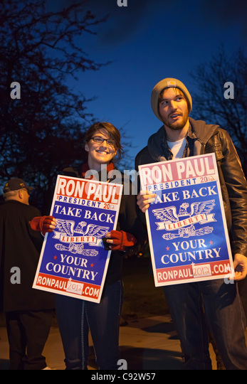 Auburn Hills, Michigan - Ron Paul supporters promote their candidate outside the Republican Presidential Debate - Stock Image