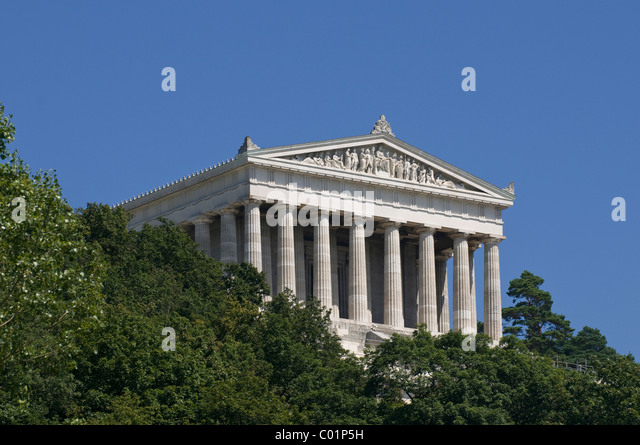 Walhalla, German glory and honor hall, national monument in Donaustauf, near Regensburg, Upper Palatinate, Bavaria - Stock Image