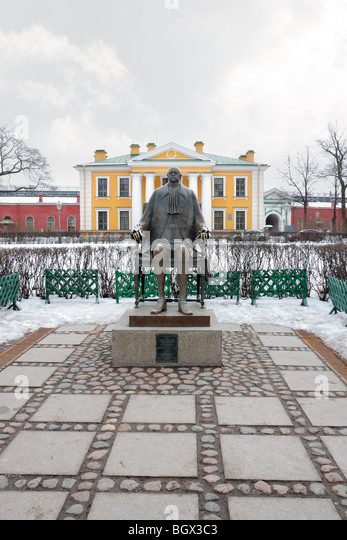 Sculpture of Peter 1 in courtyard of Peter and Paul fortress in St.Petersburg Russia - Stock Image
