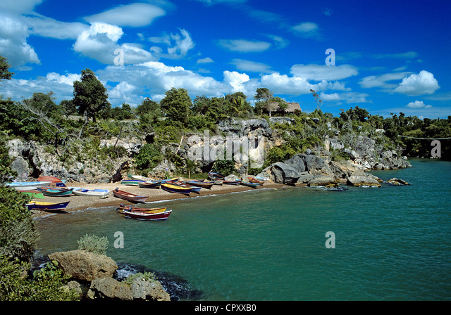 Dominican Republic, Altagracia province, Boca de Yuma, small fishing harbour at the mouth of the Yuma river - Stock Image