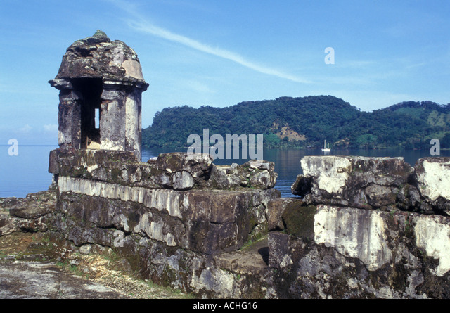 Panama Portobello Caribbean Coast Fort Santiago Guard House - Stock Image
