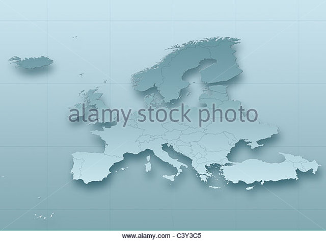 map, Western Europe, political, grey, political - Stock Image