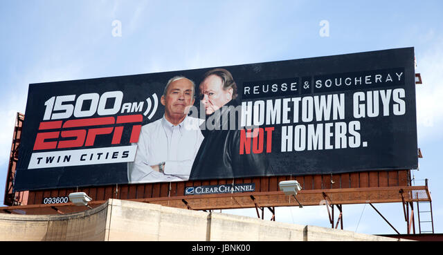 Billboard advertising two celebrities for talk radio. St Paul Minnesota MN USA - Stock Image