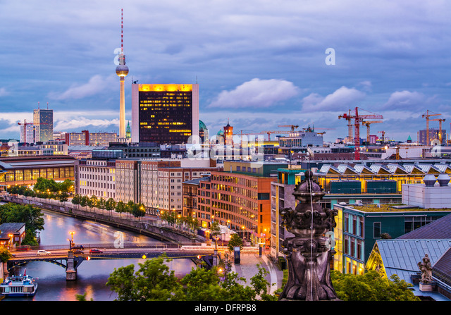 Berlin, Germany viewed from above the Spree River. - Stock-Bilder