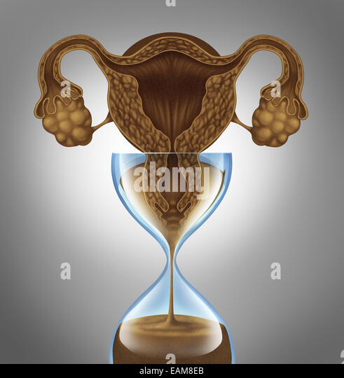 Female biological clock concept as a uterus and ovaries from the anatomy of a woman  as falling sand in an hourglass - Stock Image