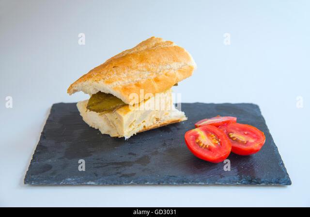 Spanish Omelette Sandwich Stock Photos & Spanish Omelette ...