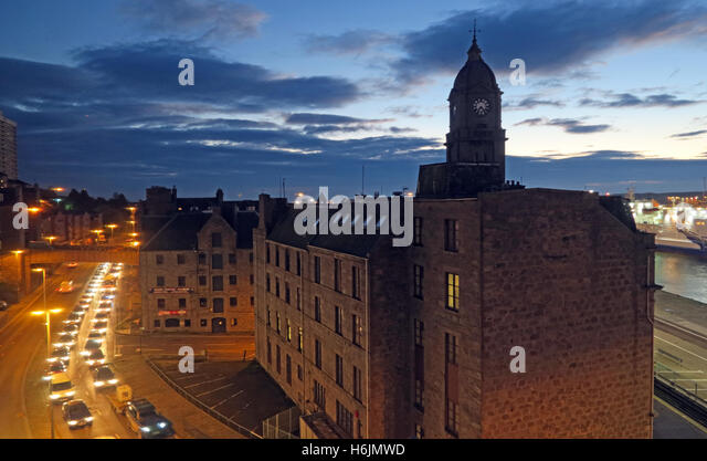 Aberdeen Harbour at Night, Aberdeenshire,Scotland,UK - Morning traffic - Stock Image