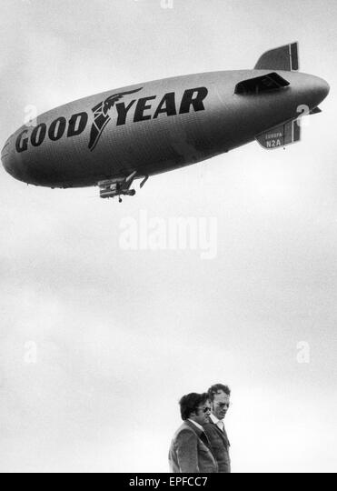 The rebuilt Goodyear Airship Europa which crashed in April 1972 seen here in the skies over RAF Cardington formerly - Stock Image