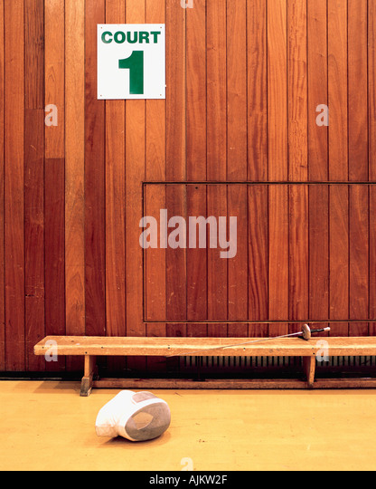 Fencing mask in sport court - Stock Image