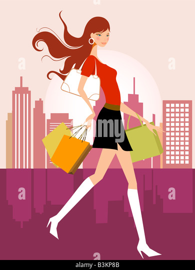 illustration drawing of shopping girl - Stock Image