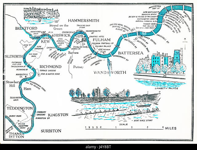 Rowing Map of the Thames, 1955 illustrated plan of the River Thames as it winds through London, from Hampton Court - Stock Image