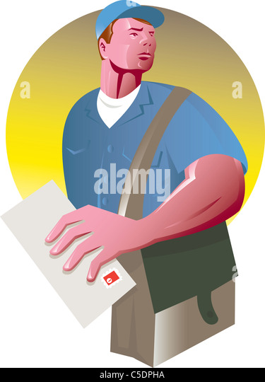 illustration of a postman mailman with holding an envelope and mailbag set inside a circle on isolated background - Stock Image