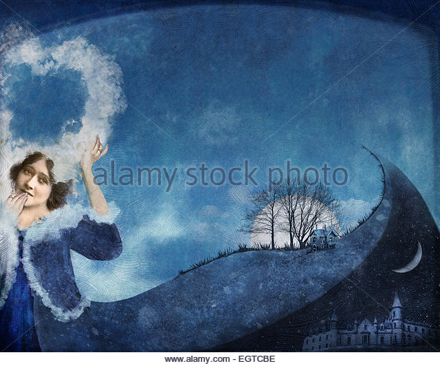 woman holding cloud heart - Stock Image
