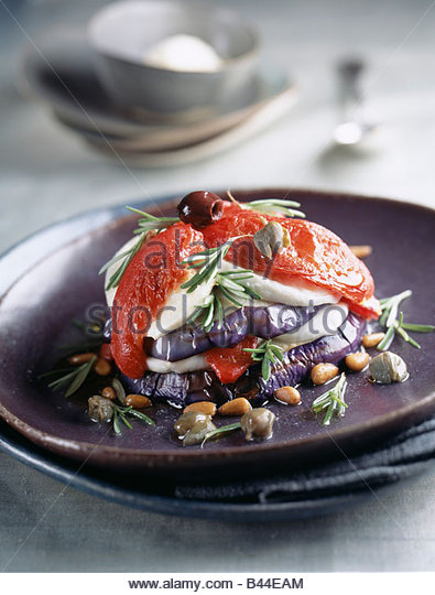 Eggplant,cheese and pepper Mille-feuille - Stock Image