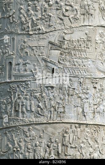 Column of trajan bas relief stock photos