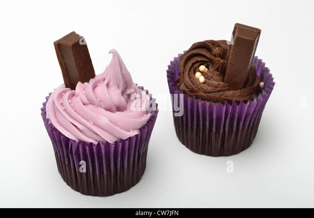 Cupcakes on a white background - Stock Image