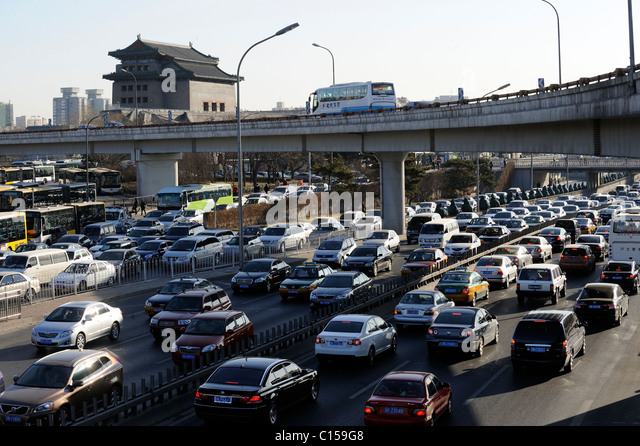 Congested traffic on Beijing motorway, China. 09-Mar-2011 - Stock Image