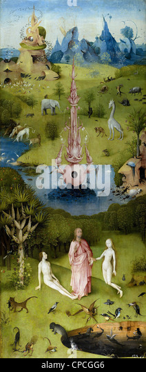 Hieronymus Bosch The Garden of Earthly Delights (left panel) - Heaven 1504 Prado museum - Madrid - Stock Image