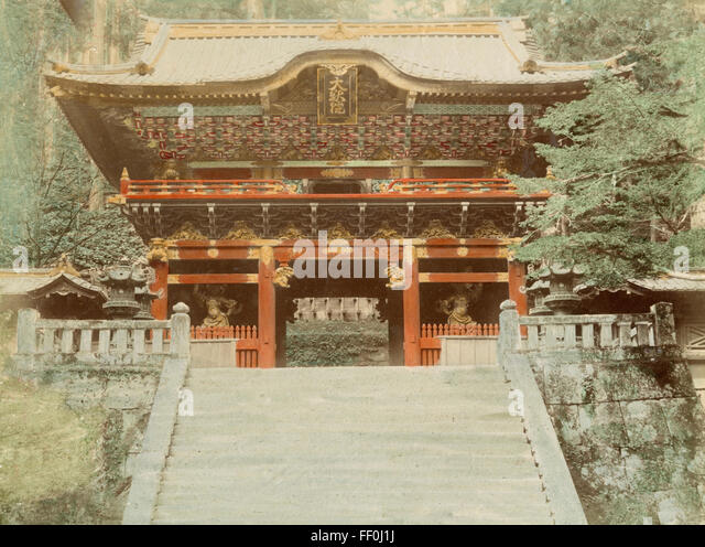 Entrance to the Temple of Iyemitsu, Nikko, Japan - Stock Image