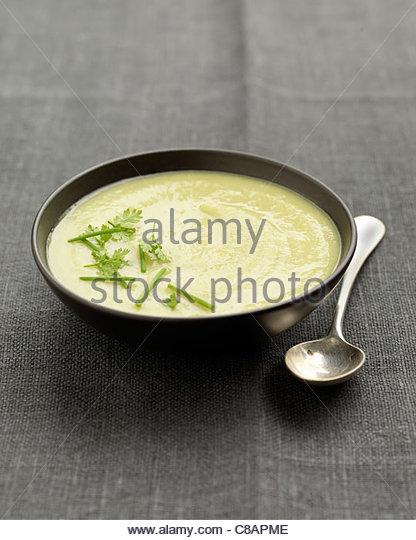 Cream of leek,avocado and potato soup - Stock Image