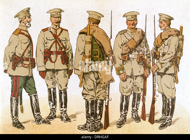 Russian army uniforms, WW1 - Stock Image