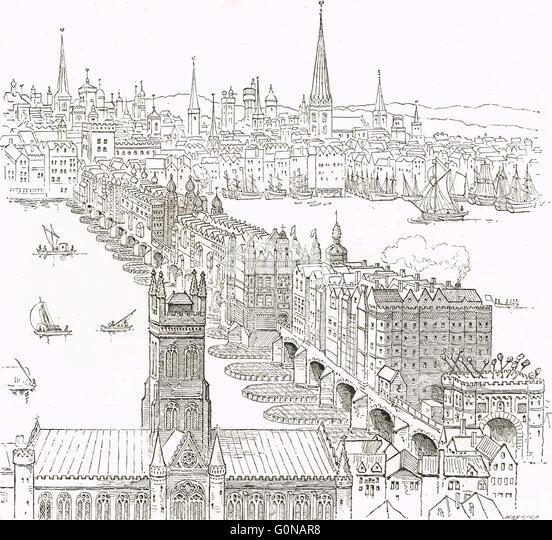 Old London bridge, England in the 17th century - Stock Image