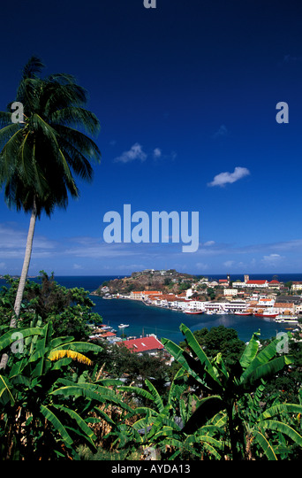 Caribbean Grenada St Georges Harbour overview Carenage - Stock Image