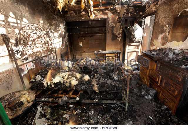 Fire Damage Bed Stock Photos & Fire Damage Bed Stock