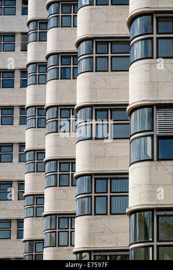 Detail of Shell Haus modernist architecture in Berlin Germany - Stock Image